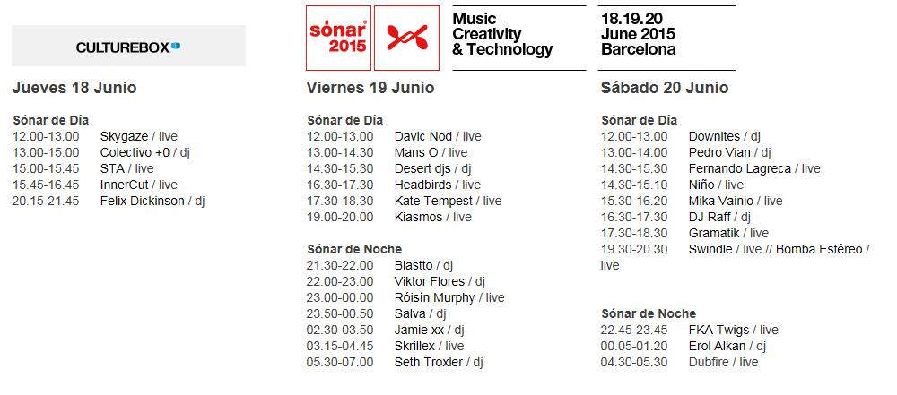 sonar timetable culturebox