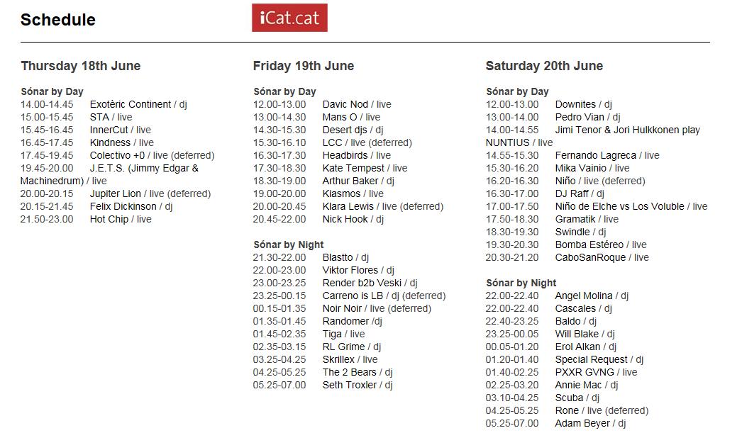 sonar timetable icat